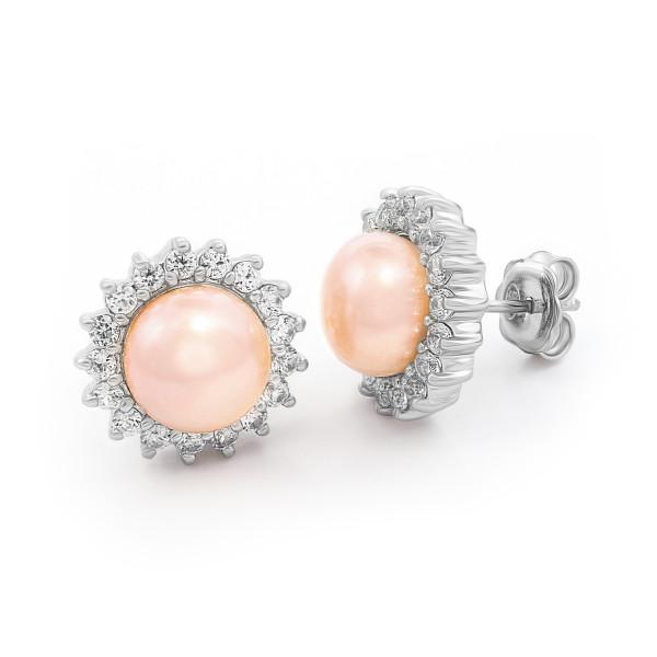 Perlen-Silberohrringe