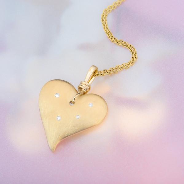 Silberkette mit Herz-Anhänger, gelbvergoldet