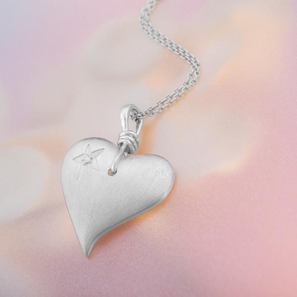 Silberkette mit Herz-Anhänger, silber
