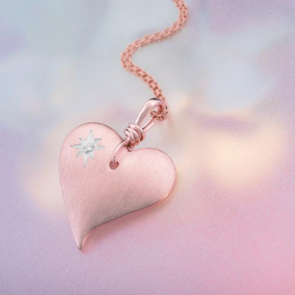 Silberkette mit Herz-Anhänger, rosévergoldet