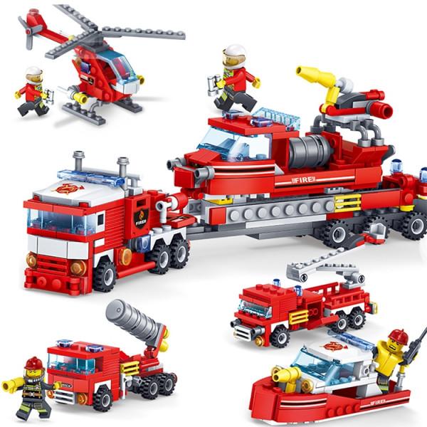 Vorbestellung: 4 in 1 Feuerlöschfahrzeug - Auto, Hubschrauber und Boot